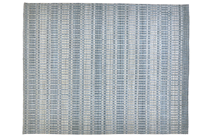 Hawthorne Hand-Knotted Rug, Blue/Silver