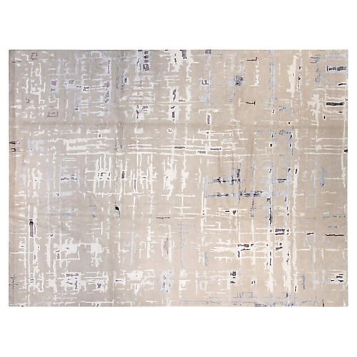 9'x12' Diamond Hand-Knotted Rug, Gray/Multi