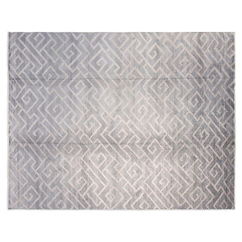 9'x12' Jesse Hand-Knotted Rug, Silver