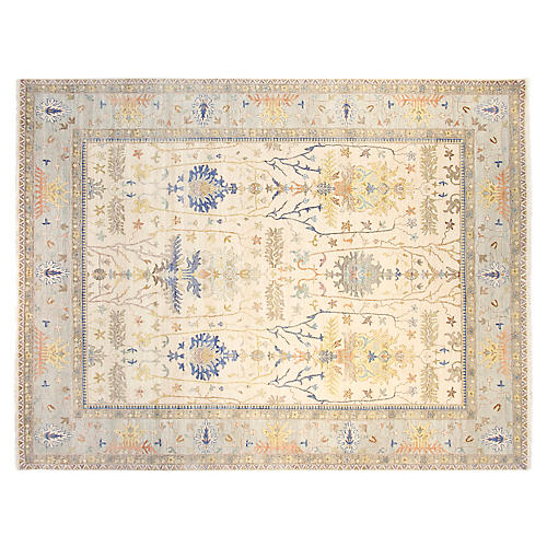 9'x12' Sari Michelle Hand-Knotted Rug, Ivory