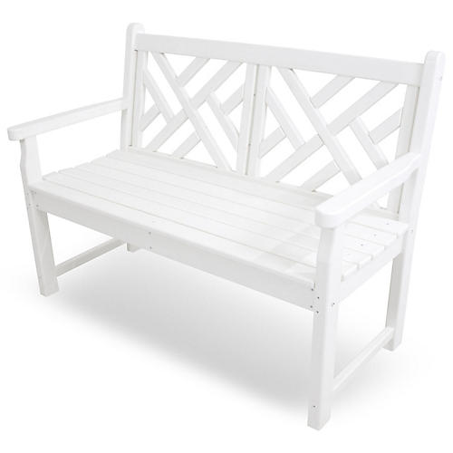 "48"" Chippendale Bench, White"