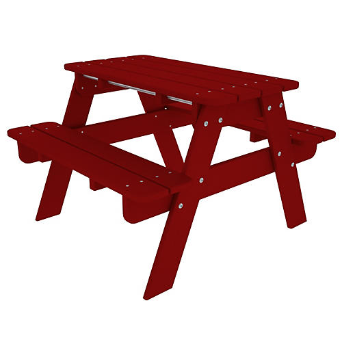 Kids' Picnic Table, Sunset Red