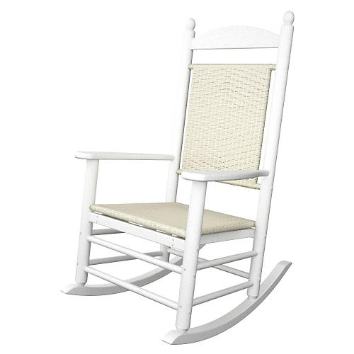 Jefferson Woven Rocker, White/White Loom