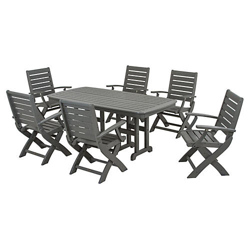 Signature 7-Pc Dining Set, Slate Gray