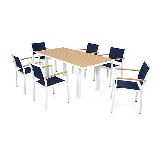 Bayline 7-Pc Dining Set, White/Navy