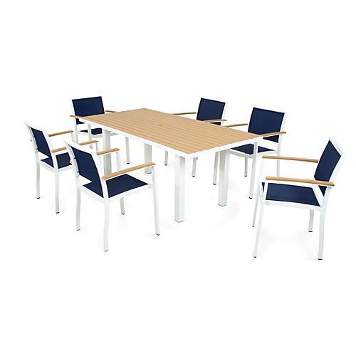 Bayline 7-Pc Dining Set, White/Navy