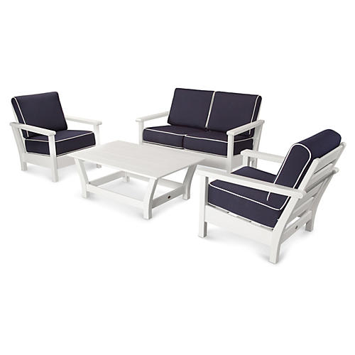 Harbour 4-Pc Living Set, Navy
