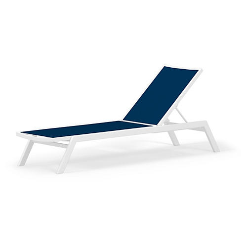 Bayline Mesh Chaise, Navy/White