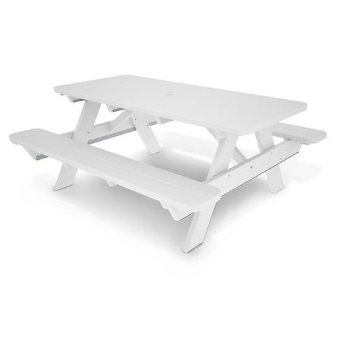"Lou 72"" Picnic Table, White"