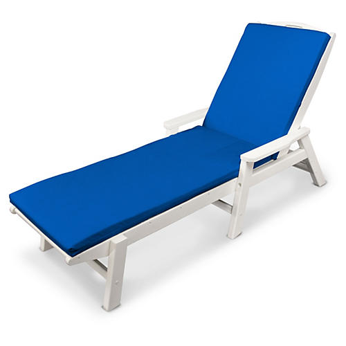 Nautical w/ Arms Chaise, Pacific Blue