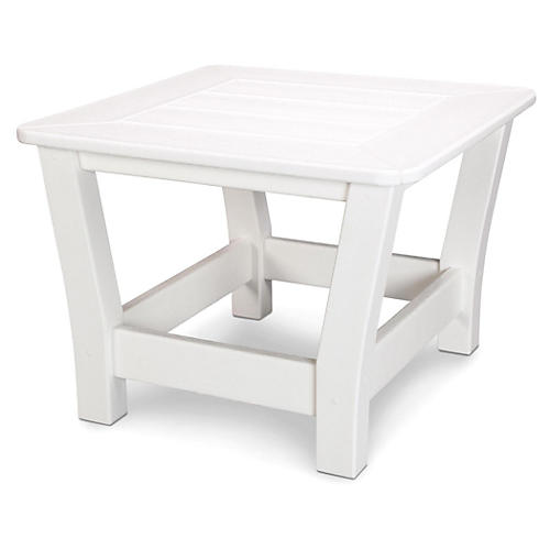 Harbour Slat Side Table, White