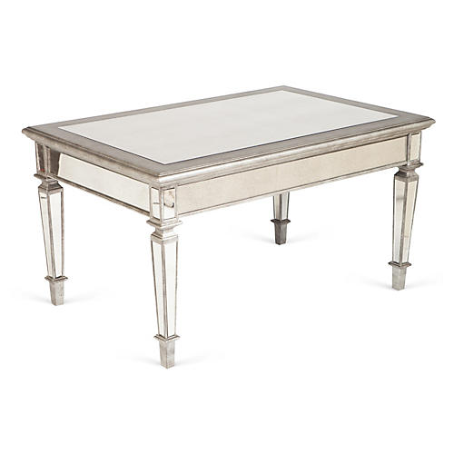 """Maddy 36"""" Coffee Table, Mirrored/Silver"""