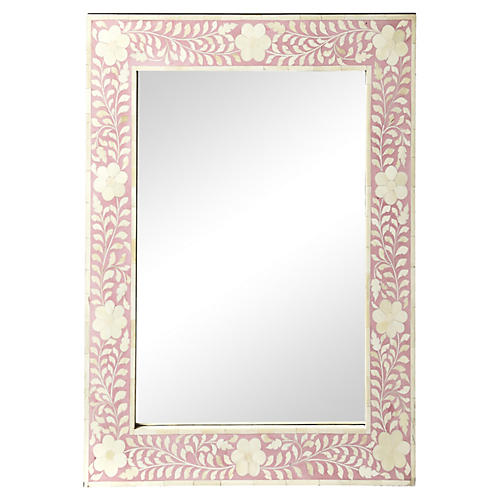 "Flower 24""x30"" Bone Inlay Mirror, Pink/Ivory"