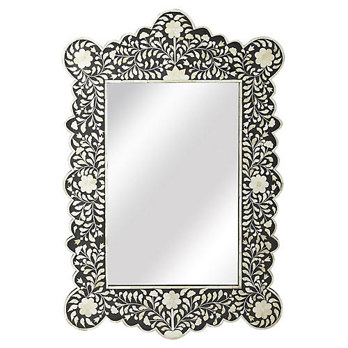 "Bone 24""x36"" Inlay Wall Mirror, Black"
