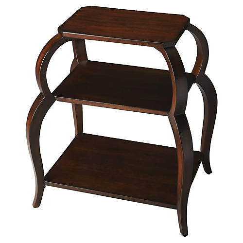 Caroline 3-Tier Side Table, Cherry