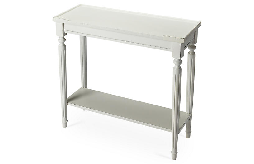 Jenna 2-Shelf Console, White