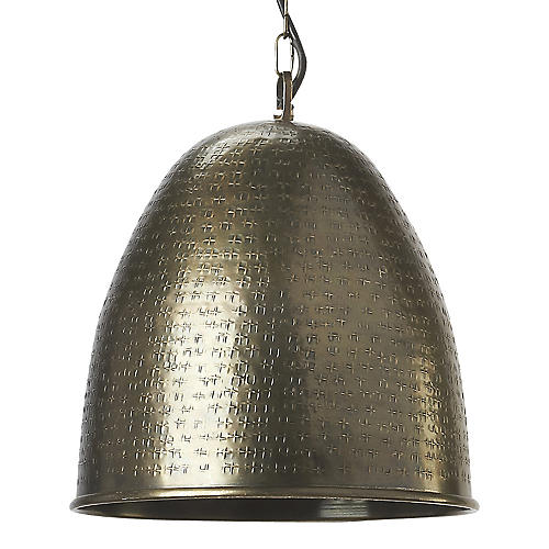 1-Light Textured Pendant, Nickel