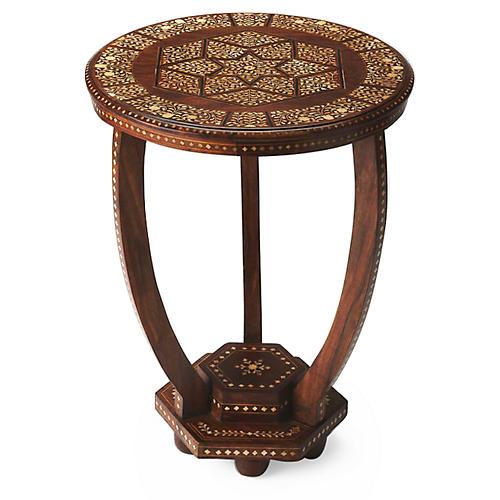 Naomi Bone-Inlay Side Table, Wood