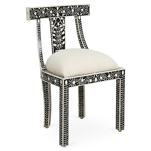 Charlotte Bone-Inlay Accent Chair, Black