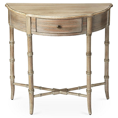 Eric Demilune Console, Driftwood