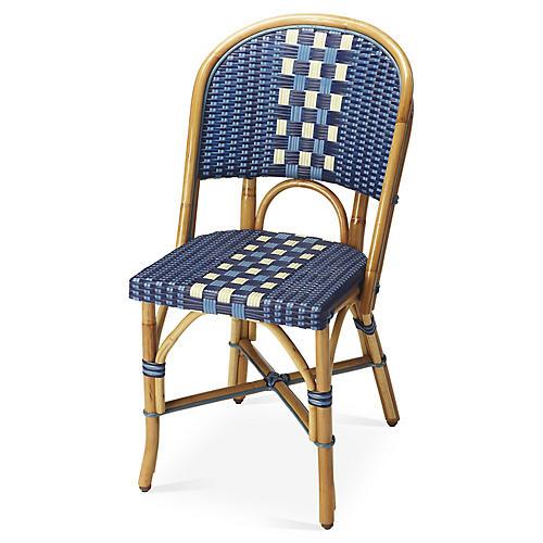 Fianna Rattan Side Chair, Blue