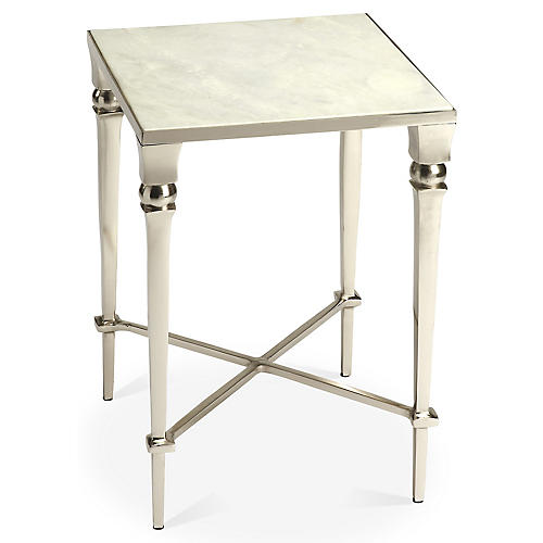 Romes Marble Side Table, Silver