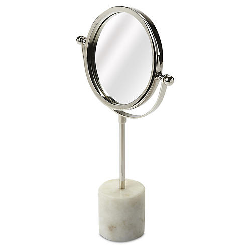 Marble Table Mirror, Silver