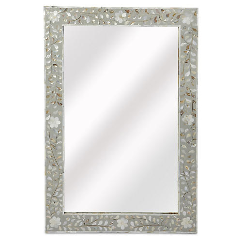 Mother-of-Pearl Wall Mirror, Gray