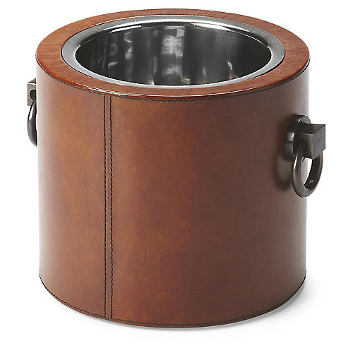 Leather Wine Cooler, Light Brown