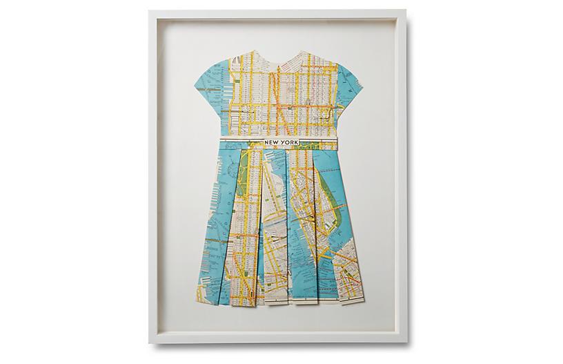 Folded Map Dress - New York - Dawn Wolfe Design