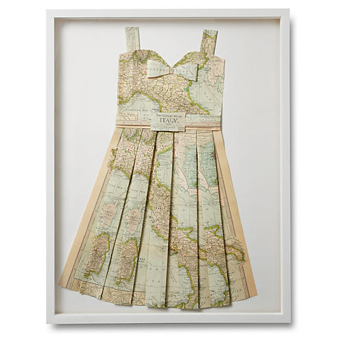 Folded Paper Map Dress, Italy