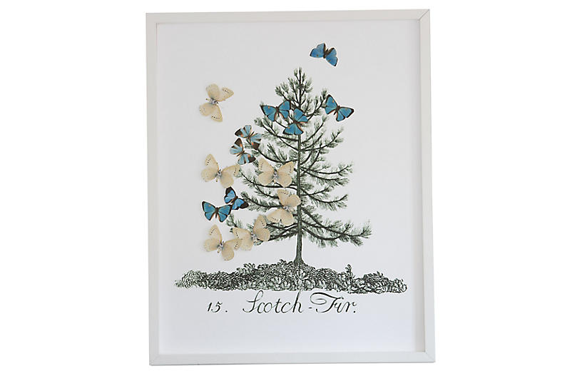 Dawn Wolfe, Tree w/Butterfly Cutouts: Scotch Fir