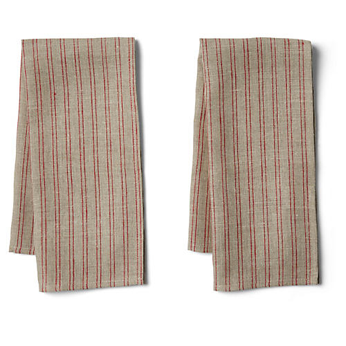 S/2 Striped Tea Towels, Natural/Red