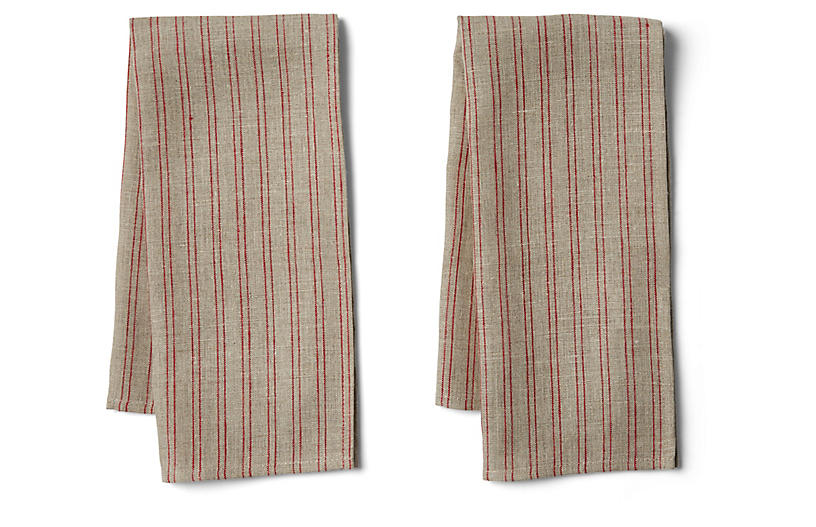 Set of 2 Striped Tea Towels - Natural/Red - FOG LINEN