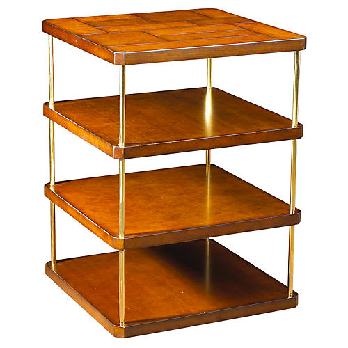 Mondrian Square Side Table, Antiqued Cherry