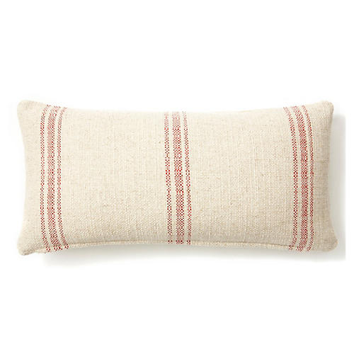 Striped 12x24 Linen-Blend Pillow, Red