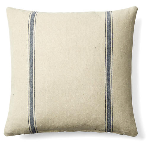 Striped 20x20 Cotton Pillow, Cream/Blue