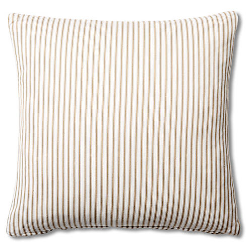 Ticking 20x20 Cotton Pillow, Brown