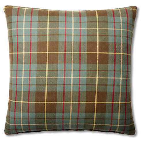 Plaid 20x20 Cotton Pillow, Green