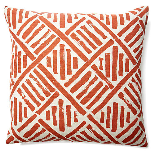Stroke 20x20 Linen-Blended Pillow, Coral