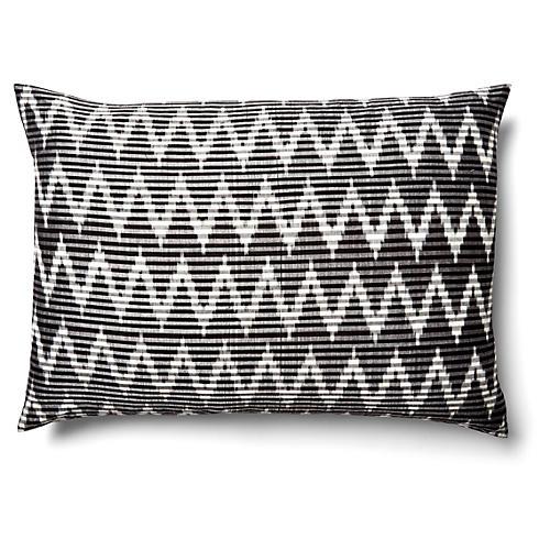 Ikat 14x20 Silk Pillow, Black