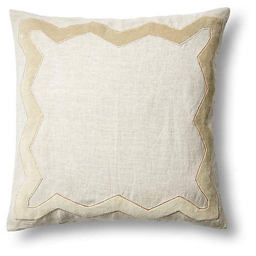Zigzag 18x18 Linen Pillow, Natural