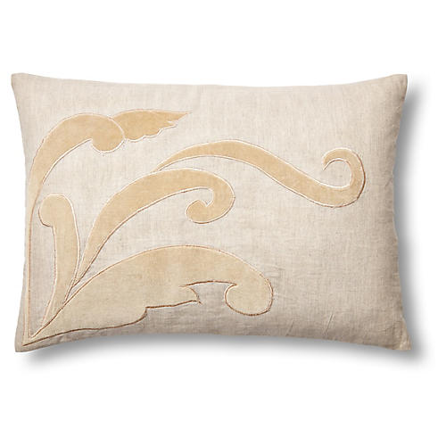 Leaf 14x20 Linen/Velvet Pillow, Natural