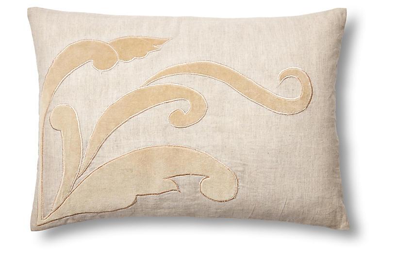 Leaf 14x20 Linen/Velvet Pillow, Natural