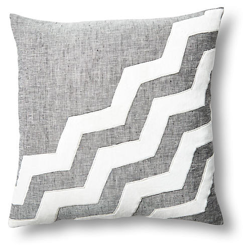 Chevron 18x18 Linen/Velvet Pillow, Gray