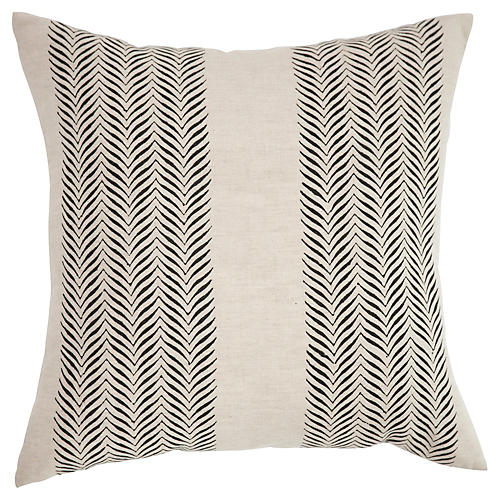 Printed 18x18 Linen Pillow, Natural