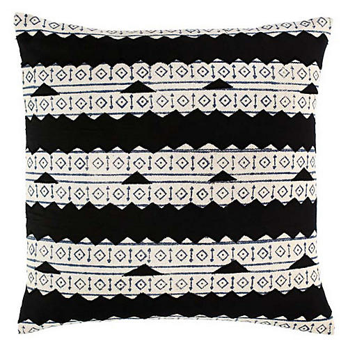 Meera 18x18 Cotton Pillow, Black