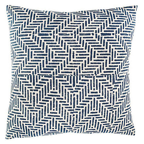 Mani 18x18 Cotton Pillow, Blue