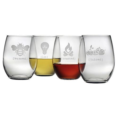 S/4 Tipsy Stemless Wineglasses