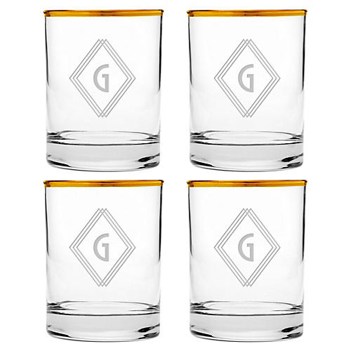 S/4 Deco Diamond Monogram Glasses, Gold